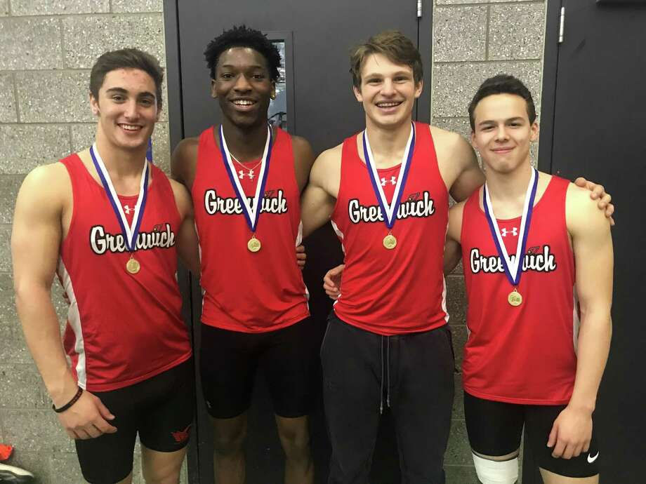 Lance Large, Chris Wint, Hunter Clark and Zane Nye combined to win the 4 x 200-meter relay at the Class LL Championships on Saturday, Feb. 9, 2019 at the Floyd Little Athletic Center in New Haven. They will compete at the State Open Championships on Saturday. Photo: Contributed Photo / Contributed Photo / Greenwich Time Contributed