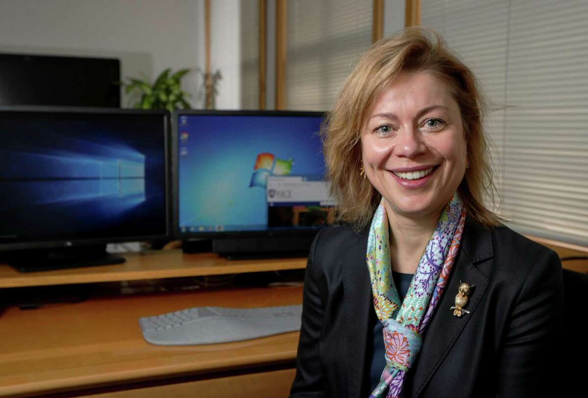 Klara Jelinkova, vice president for international operations and information technology and chief information officer at Rice University, is in charge of the institution's effort to migrate from Windows 7 to Windows 10. Jelinkova poses for a portrait, Wednesday, Feb. 6, 2019, in Houston.