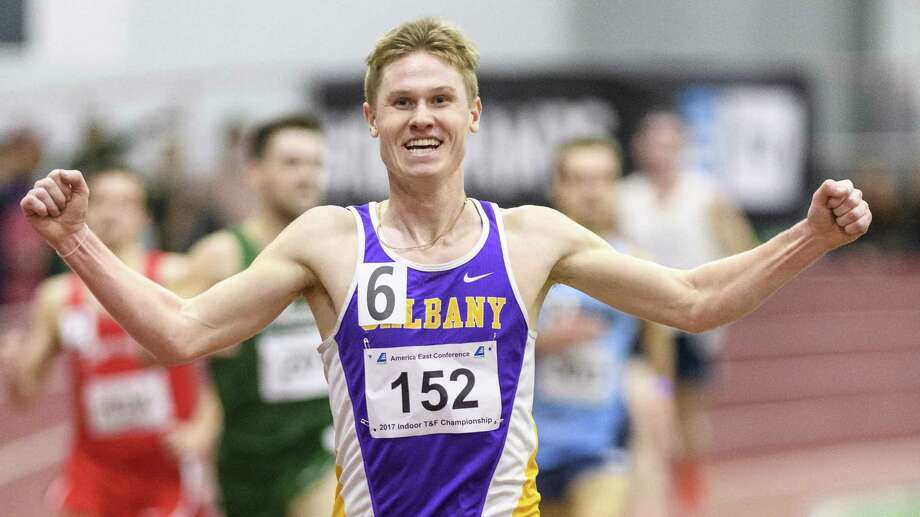 Columbia High graduate Kyle Gronostaj of the UAlbany men's indoor track team after breaking the school record in the 5,000 at the Valentine Invitational atBoston University. (Courtesy of America East Conference)