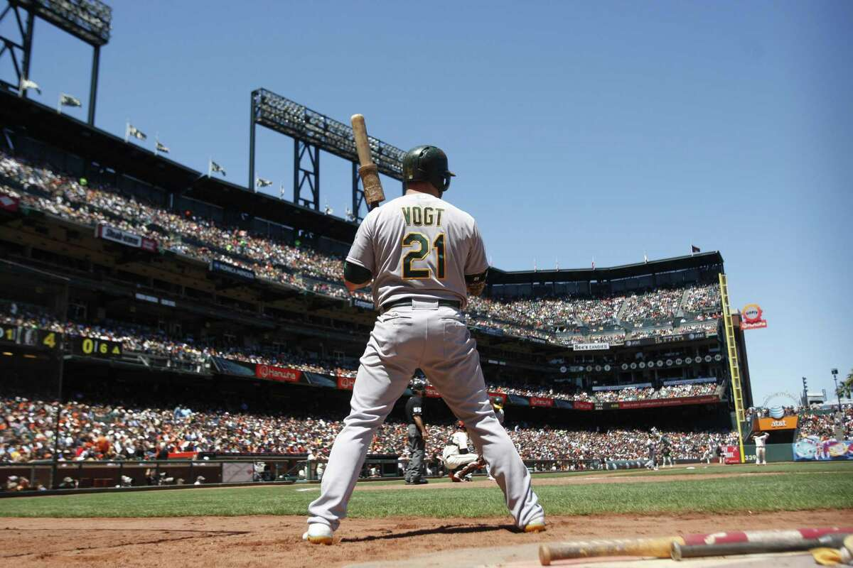 Stephen Vogt #21 of the Oakland Athletics waits in the on-deck circle during the game against the San Francisco Giants at AT&T Park on July 10, 2014 in San Francisco, California. The Athletics defeated the Giants 6-1.