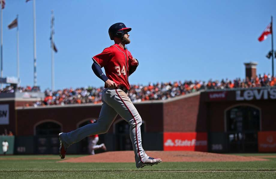 SAN FRANCISCO, CA - JULY 31:  Bryce Harper #34 of the Washington Nationals runs the bases against the San Francisco Giants during the game at AT&T Park on Sunday, July 31, 2016 in San Francisco, California. ~~ Photo: Brad Mangin / Getty Images