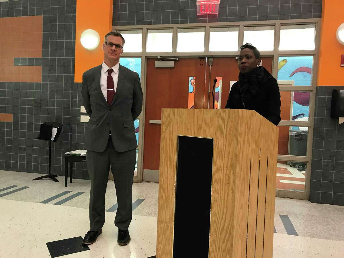 Superintendent of Schools Carol Birks introduces Michael Pinto, her appointment for the school district's next chief operating officer.