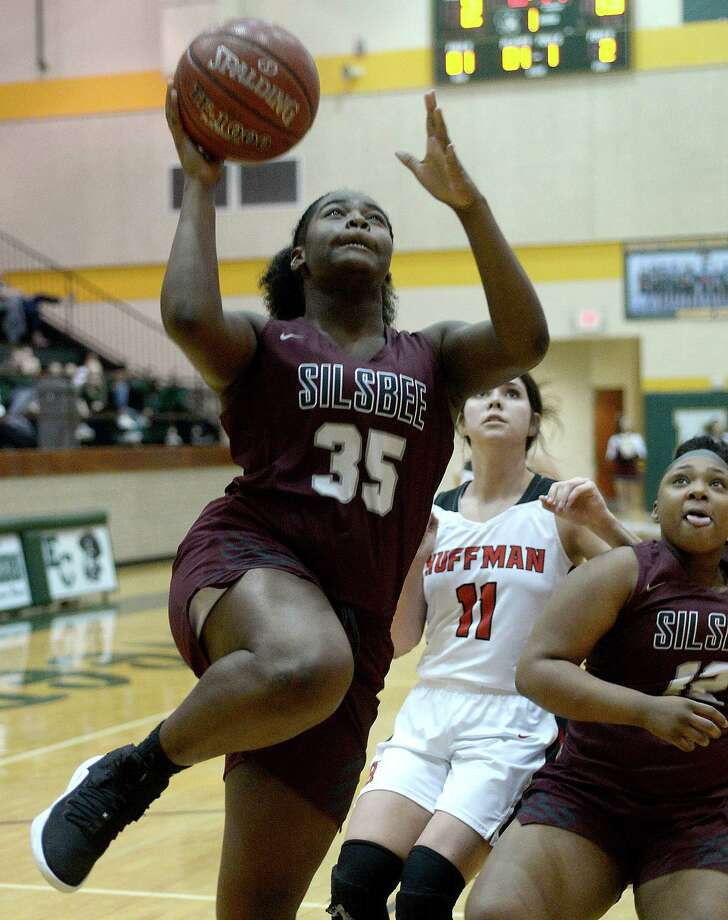 Silsbee's Akira Ray gets past Huffman's defense to put up her shot during their bi-district playoff game at East Chambers Monday. Photo taken Monday, February 11, 2019 Kim Brent/The Enterprise Photo: Kim Brent, The Enterprise / BEN