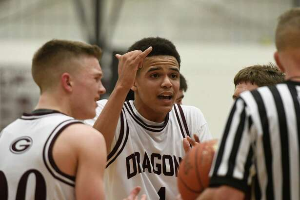 Gloversville's Julian Deumaga expresses himself regarding a call made during a game against Glens Falls on Monday, Feb. 11, 2019, at the high school in Gloversville, N.Y. (Jenn March, Special to the Times Union)