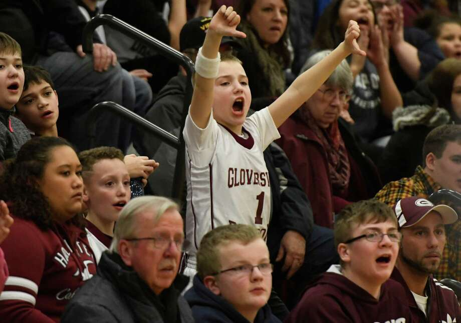 A young Gloversville fan boos the referee for a call in favour of Glens Falls during a game on Monday, Feb. 11, 2019, at the high school in Gloversville, N.Y. (Jenn March, Special to the Times Union) Photo: Jenn March, Jenn March Photography / © Jenn March 2018 © Albany Times Union 2018