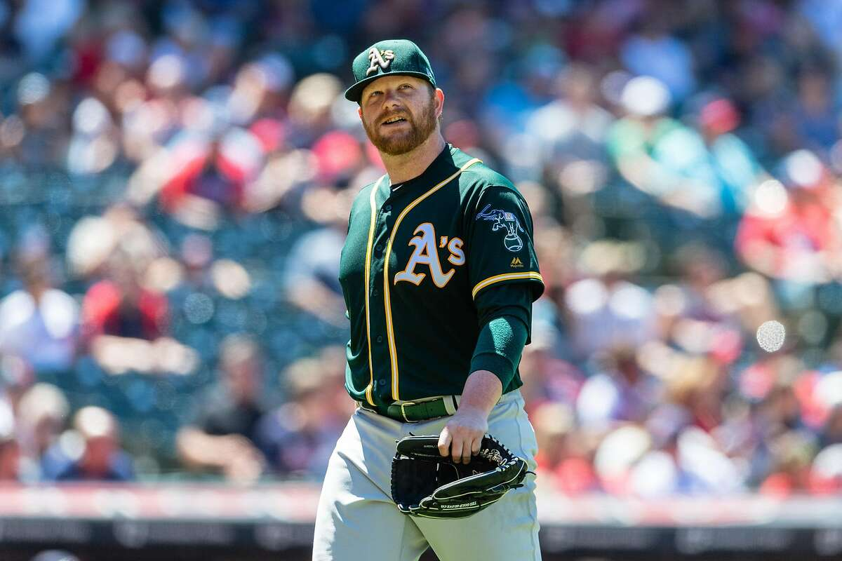 CLEVELAND, OH - JULY 8: Starting pitcher Brett Anderson #30 of the Oakland Athletics leaves the game during the sixth inning at Progressive Field on July 8, 2018 in Cleveland, Ohio. The Athletics defeated the Indians 6-0. ~~