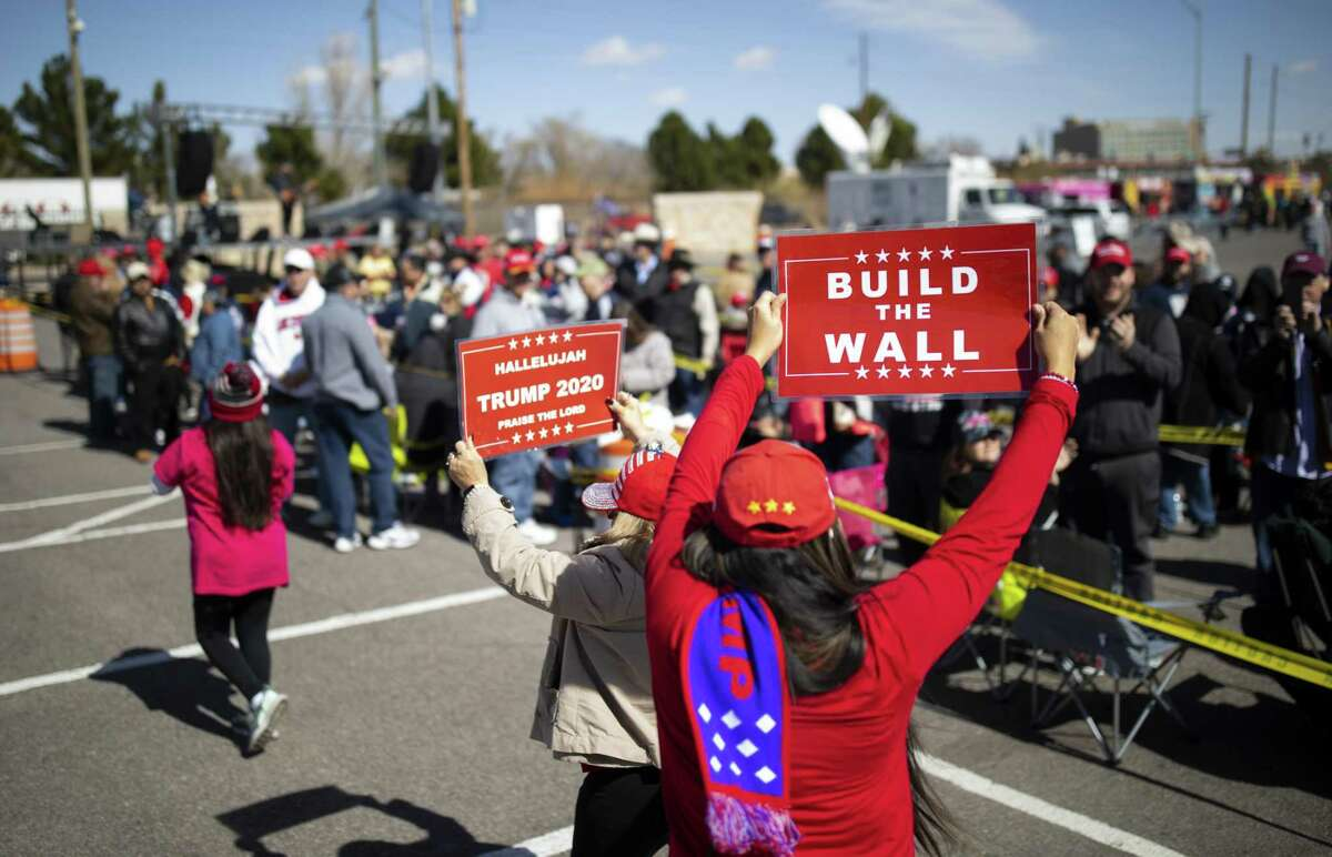 Trump supporters wait in-line to attend President Trump's first campaign rally of the year at the the El Paso County Coliseum, Monday, February 11, 2019, in El Paso, TX. Photo by Ivan Pierre Aguirre for the San Antonio Express-News