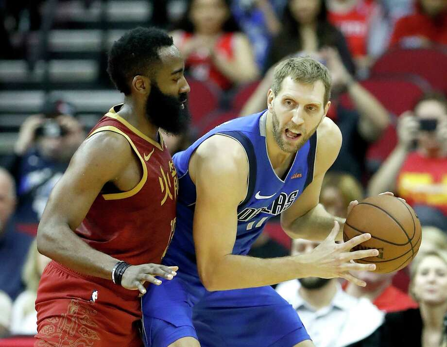 PHOTOS: 2018-19 Rockets game-by-game Dallas Mavericks forward Dirk Nowitzki (41) works against Houston Rockets guard James Harden (13) during the first half of an NBA game at the Toyota Center, Monday, Feb. 11, 2019, in Houston. >>>See how the Rockets have fared so far this season ... Photo: Karen Warren, Staff Photographer / © 2019 Houston Chronicle