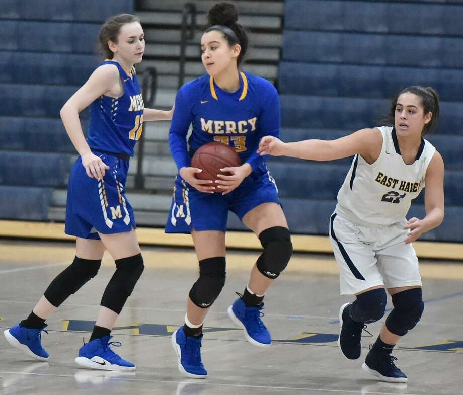 East Haven, Connecticut - Monday, February 11, 2019: East Haven H.S. girls basketball vs. Mercy H.S. of Middletown Monday evening at East Haven. Photo: Peter Hvizdak / Hearst Connecticut Media / New Haven Register