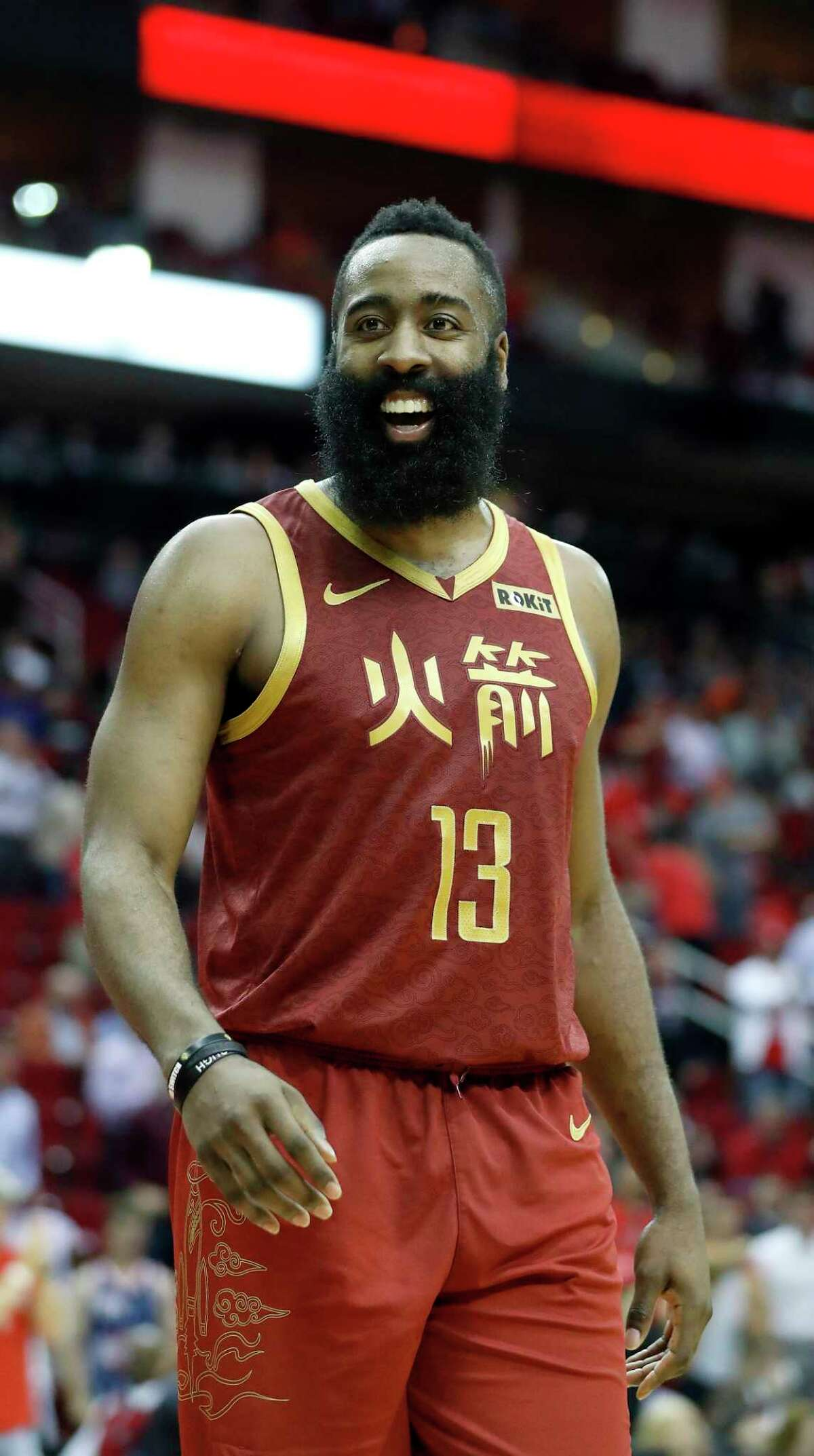 Houston Rockets guard James Harden (13) smiles in the final minute of play during the second half of an NBA game at the Toyota Center, Monday, Feb. 11, 2019, in Houston.