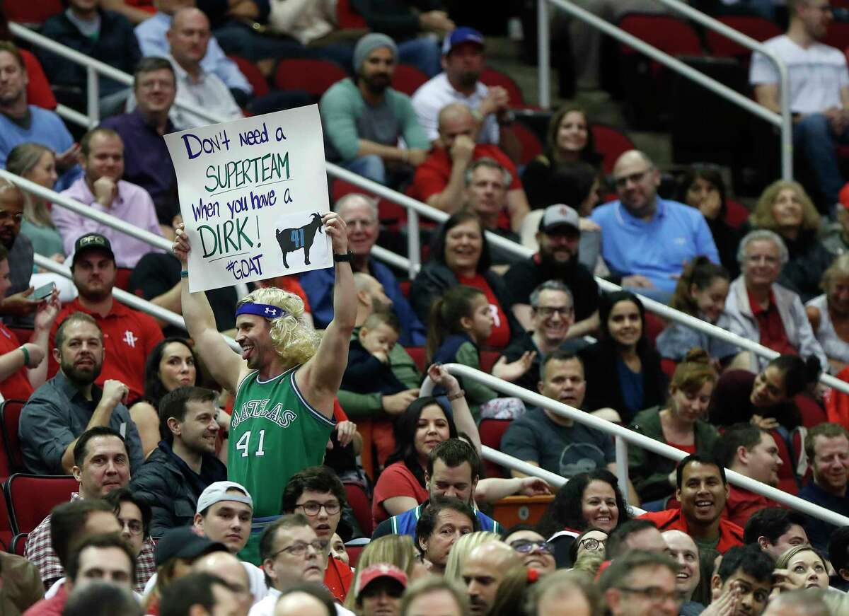 A Dallas Mavericks forward Dirk Nowitzki fan in the crowd during the second half of an NBA game at the Toyota Center, Monday, Feb. 11, 2019, in Houston.