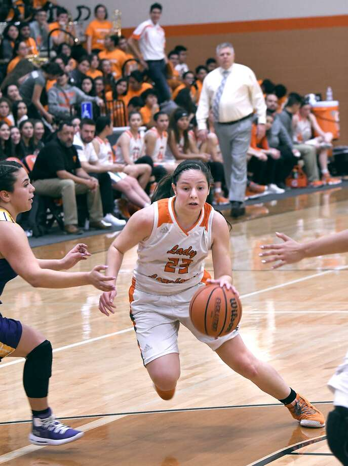 Natalia Trevino led the way with 21 points Monday as United rolled 90-47 at home in its playoff opener against McAllen. Photo: Cuate Santos /Laredo Morning Times / Laredo Morning Times