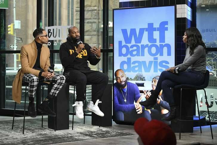"""Brittany Jones-Cooper interviews Baron Davis (second from left) and another former NBA player, Brandon Armstrong, during their visit to Build to discuss """"""""WTF Baron Davis"""" at Build Studio on January 16, 2019 in New York City. (Photo by Dia Dipasupil/Getty Images)"""