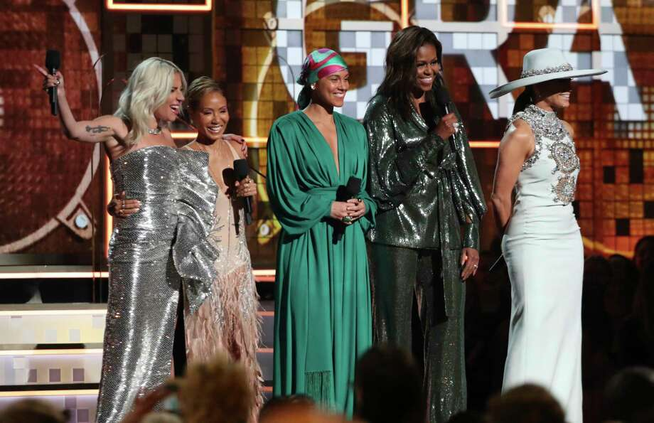 Lady Gaga, from left, Jada Pinkett Smith, Alicia Keys, Michelle Obama and Jennifer Lopez speak at the 61st annual Grammy Awards on Sunday, Feb. 10, 2019, in Los Angeles. (Photo by Matt Sayles/Invision/AP) Photo: Matt Sayles / Invision