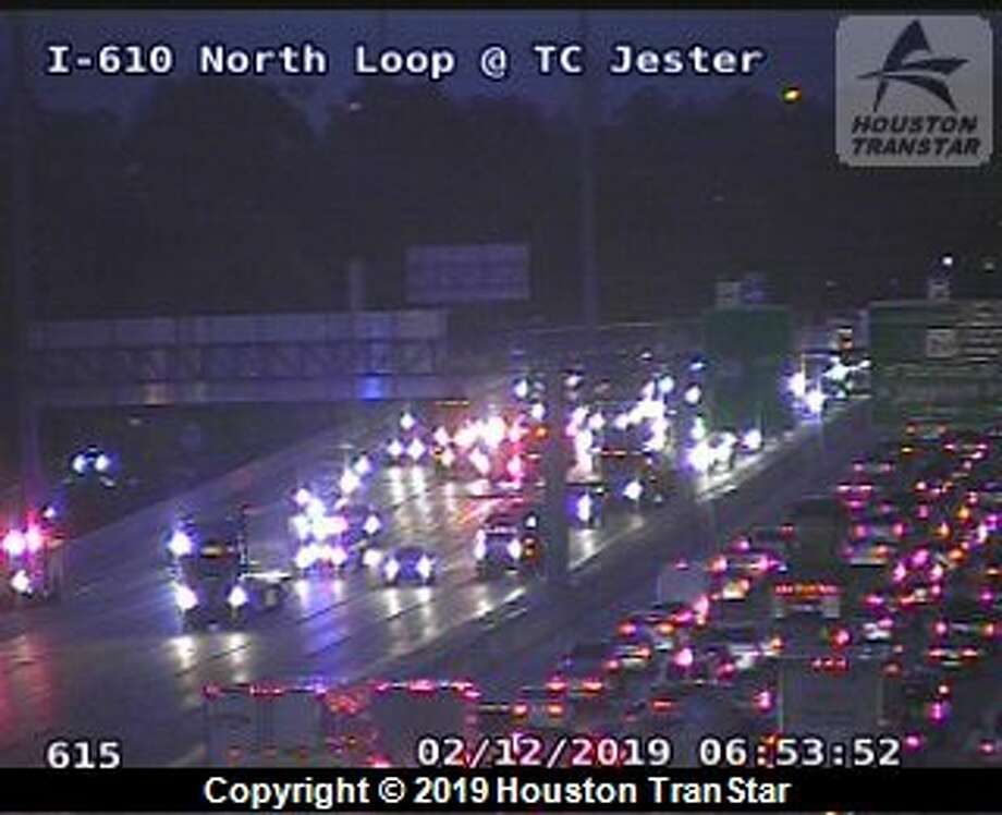 A crash closed three lanes of the 610 North Loop at Ella Blvd Tuesday morning, according to Houston police. Photo: Houston TranStar