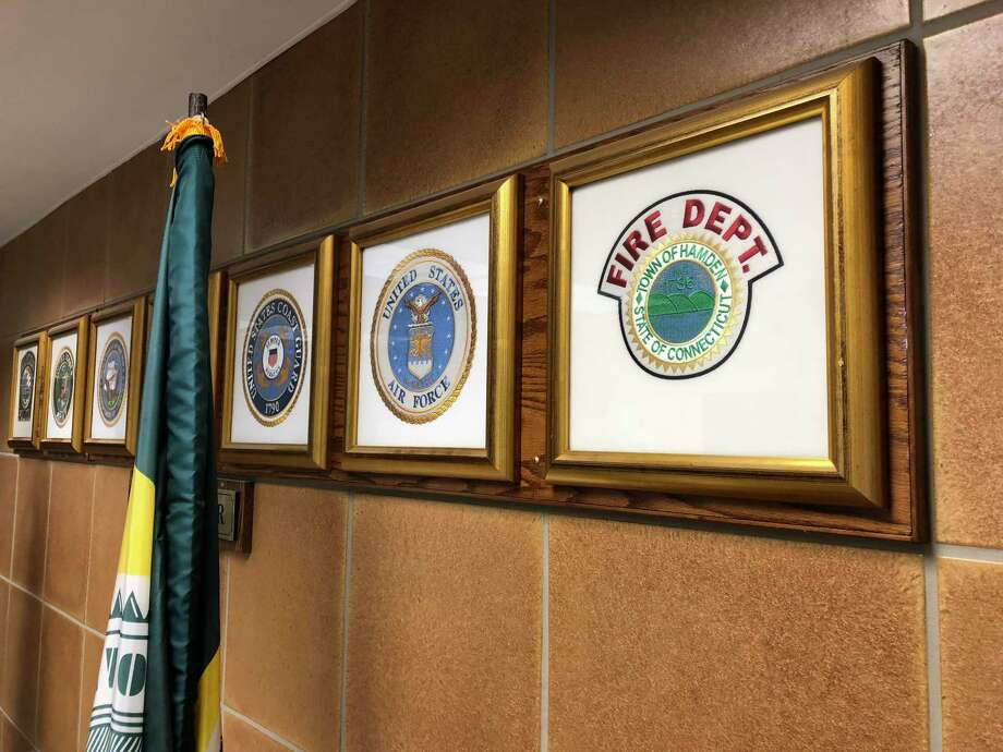 The Hamden Fire Department seal, as seen in the town government offices. Photo: Ben Lambert / Hearst Connecticut Media