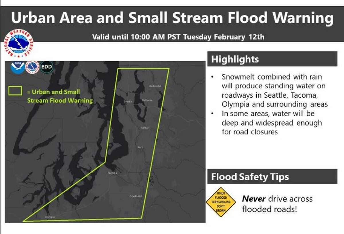 A flood warning was issued for urban areas in King, Pierce and Thurston counties Tuesday morning.