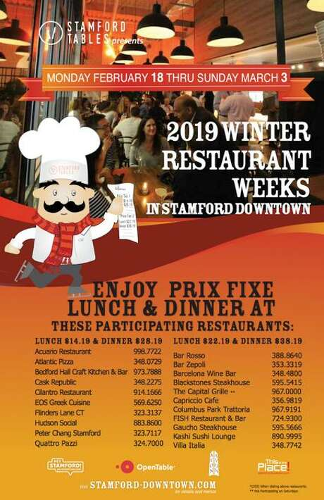 Twenty-one Stamford Tables members (Stamford Downtown's Restaurant Association) are participating in Winter Restaurant Weeks Feb. 18 through March 3. Photo: Stamford Tables / Contributed Photo