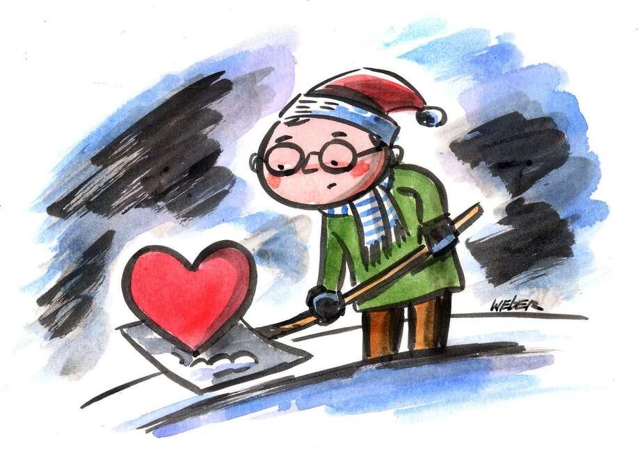 This artwork by Mark Weber relates to snow-shoveling season and the danger of heart attacks. Photo: Mark Weber