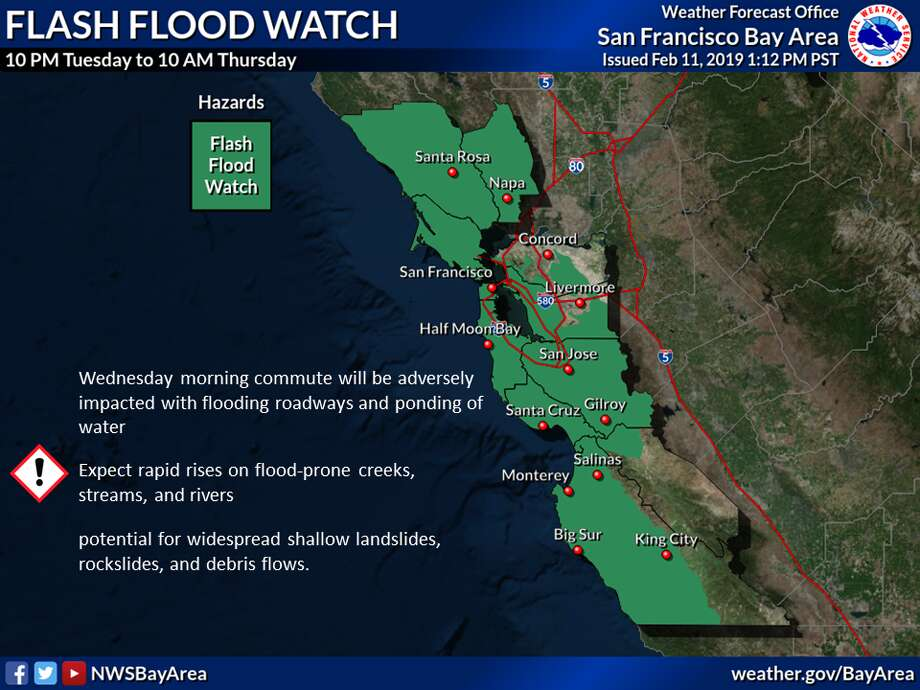 A flash flood watch is in effect for the Bay Area 10 p.m. Tuesday through 10 a.m. Wednesday as an atmospheric river is forecast to drench the region. Photo: NWS