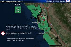 A flash flood watch is in effect for the Bay Area 10 p.m. Tuesday through 10 a.m. Wednesday as an atmospheric river is forecast to drench the region.
