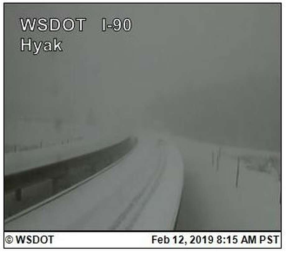 Snoqualmie Pass was completely closed Tuesday morning due to heavy snow, poor visibility and avalanches. A re-opening time was not set and it was not expected to re-open until conditions improved. Photo: Courtesy WSDOT
