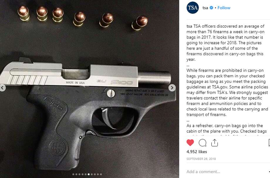 "TSA: ""The pictures here are just a handful of some of the firearms discovered in carry-on bags [in 2018].