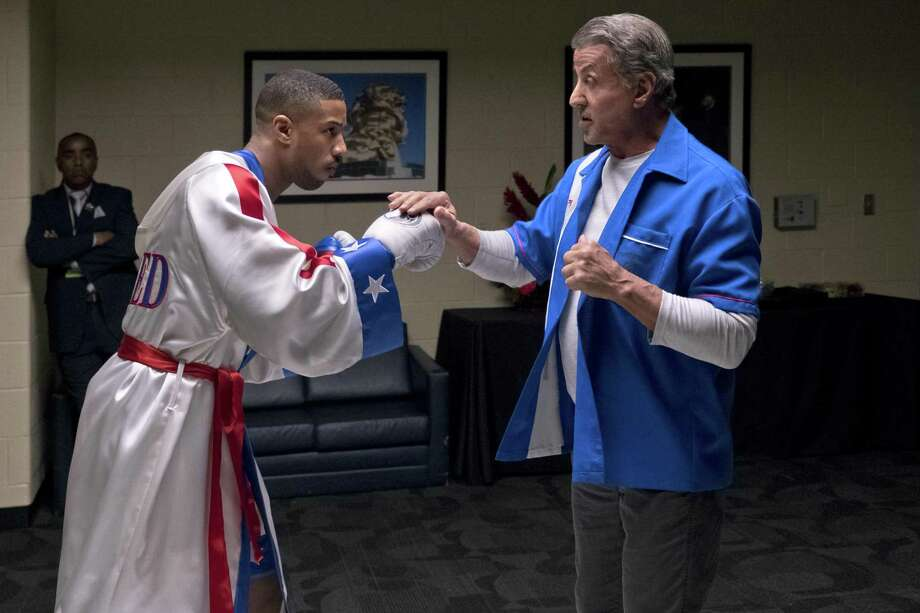 "Michael B. Jordan (left) and Sylvester Stallone are back in the ring in ""Creed II."" Photo: Barry Wetcher / © 2018 Metro-Goldwyn-Mayer Pictures Inc. and Warner Bros. Entertainment Inc. All Rights Reserved."