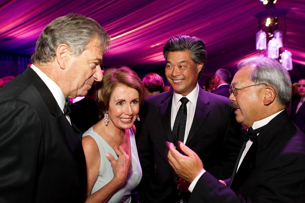 Paul Pelosi, Nancy Pelosi, Rodney Fong and San Francisco Mayor Ed Lee (left to right) talk before sitting down to dinner during the San Francisco Opera Opening Night Gala at War Memorial Opera House in San Francisco, Calf., on Friday, September 7, 2012.