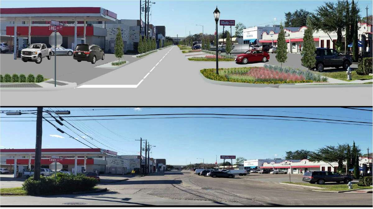 On a 4-3 margin, the Bellaire City Council voted to continue the Spruce and Fifth Street Reconstruction Project on Monday, Jan. 27. Shown here at top is a rendering which reflects proposed plans looking westward down Spruce Street compared to a current picture below.