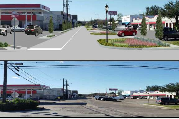 The Bellaire city council is set to consider the Spruce and Fifth Street Reconstruction Project at its Monday, Feb. 18, meeting. The plan would address drainage issues and bring improvements to downtown Bellaire. Here, a top rendering reflects proposed plans looking westward down Spruce Street compared to a current picture below.