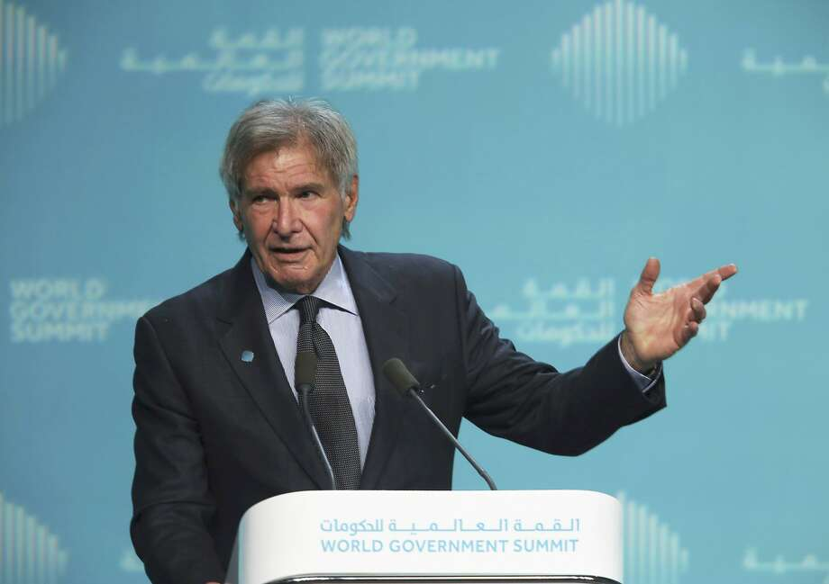 "American actor Harrison Ford speaks about ocean conservation at the World Government Summit in Dubai, United Arab Emirates, Tuesday, Feb. 12, 2019. Ford offered an emphatic plea for protecting the world's oceans while calling out U.S. President Donald Trump and others who ""deny or denigrate science."" (AP Photo/Jon Gambrell) Photo: Jon Gambrell, Associated Press"