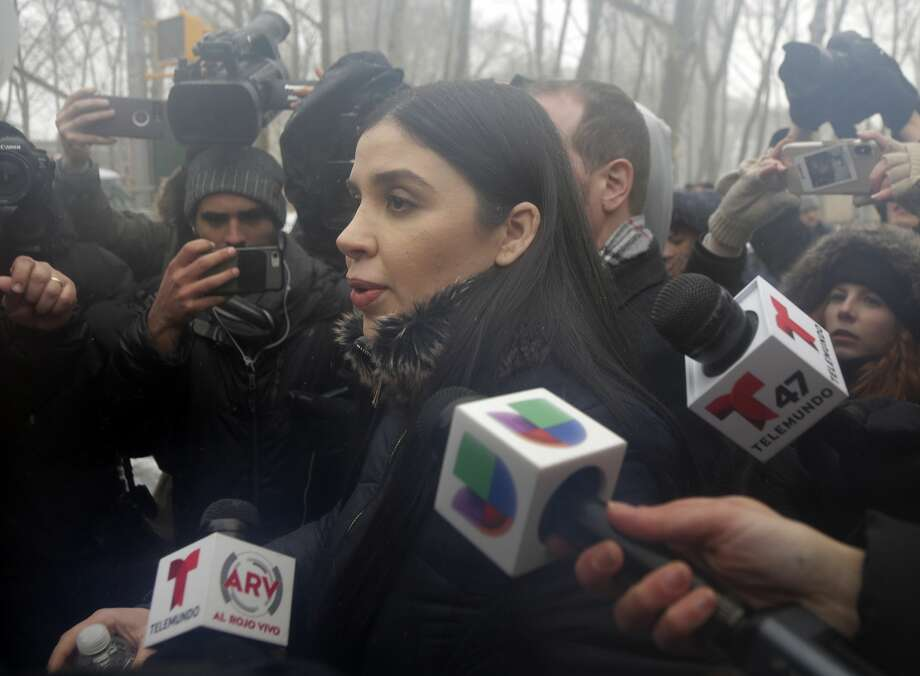 "Emma Coronel Aispuro, center, wife of Joaquin ""El Chapo"" Guzman, leaves federal court in New York, Tuesday, Feb. 12, 2019. On Tuesday, Mexico's most notorious drug lord was convicted of running an industrial-scale smuggling operation after a three-month trial packed with Hollywood-style tales of grisly killings, political payoffs, cocaine hidden in jalapeno cans, jewel-encrusted guns and a naked escape with his mistress through a tunnel. (AP Photo/Seth Wenig) Photo: Seth Wenig/AP"