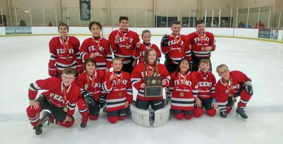 Pictured above is the Midland Feeny 10U hockey team, which won the district tournament last weekend in Bay City to advance to the state tournament. 				Pictured are (front row, from left) Cayden Callender, Macy Spitnale, Larson Putnam, Lucy Mitchell, Joylin Brillhart, Jackson Dachsteiner, Tyler Sampson; (back row, from left) Keagan Lethorn, Joechen Fan, Tysen Kienbaum, Colin Hudack, Caleb Nagle, Colin Terry.  				The team coaches (not pictured) are head coach Kurt Brillhart and assistants Jon Putnam, Raymond Hudack, Dave Mitchell and Roger Terry.