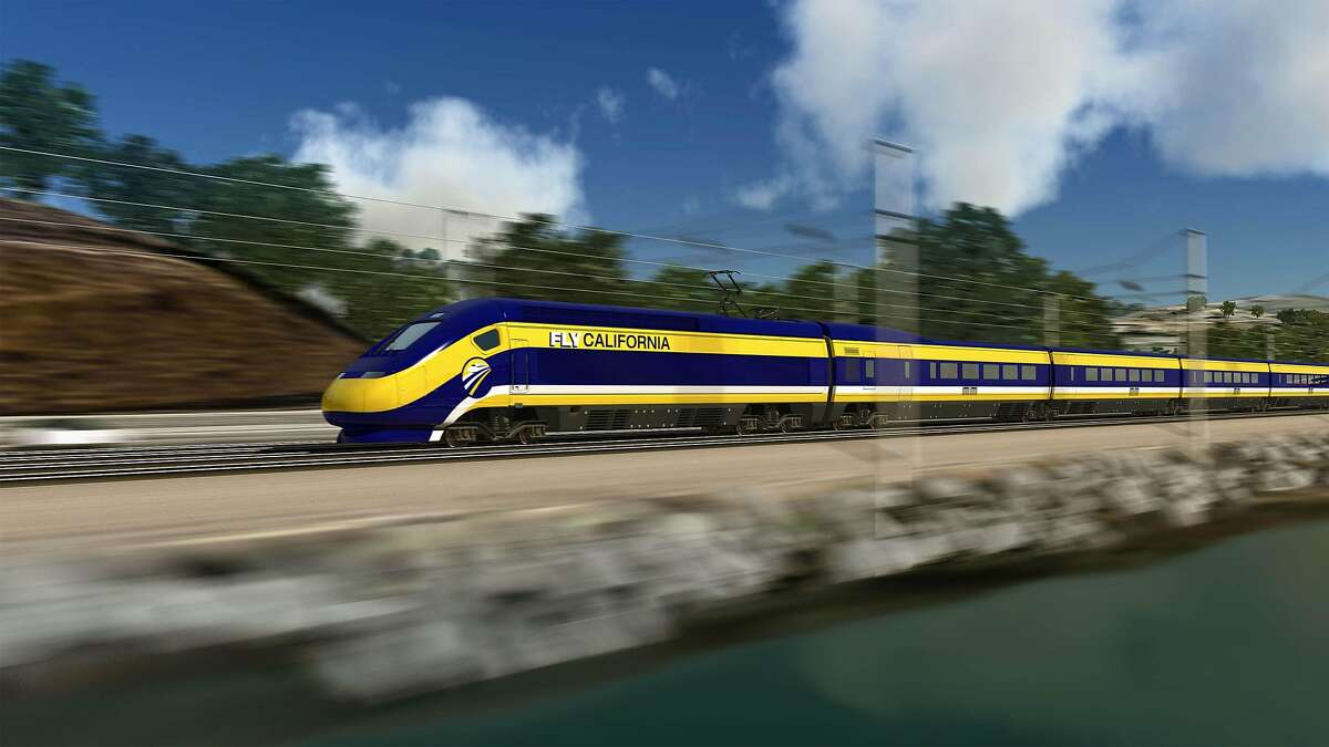 This image provided by the California High Speed Rail Authority shows an artist's rendering of a high-speed train speeding along the California coast.