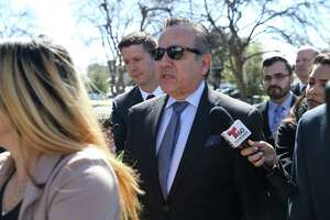 Former Texas State Senator and now convicted felon Carlos Uresti arrives at the Federal Courthouse for sentencing on his second trial, Tuesday, Feb. 12, 2019. Uresti pled guilty in a public corruption case out of Reeves County in West Texas. Uresti faces up to five years in prison, but any term he receives may run concurrently with his 12-year sentence for his role in a now-defunct oil and gas company that defrauded investors.
