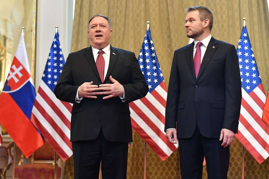 Slovakia's Prime Minister Peter Pellegrini (right) greets Secretary of State Mike Pompeo in Bratislava, during a five-nation tour that began in Hungary and will take him to Poland, Belgium and Iceland. Photo: Joe Klamar/AFP/Getty Images