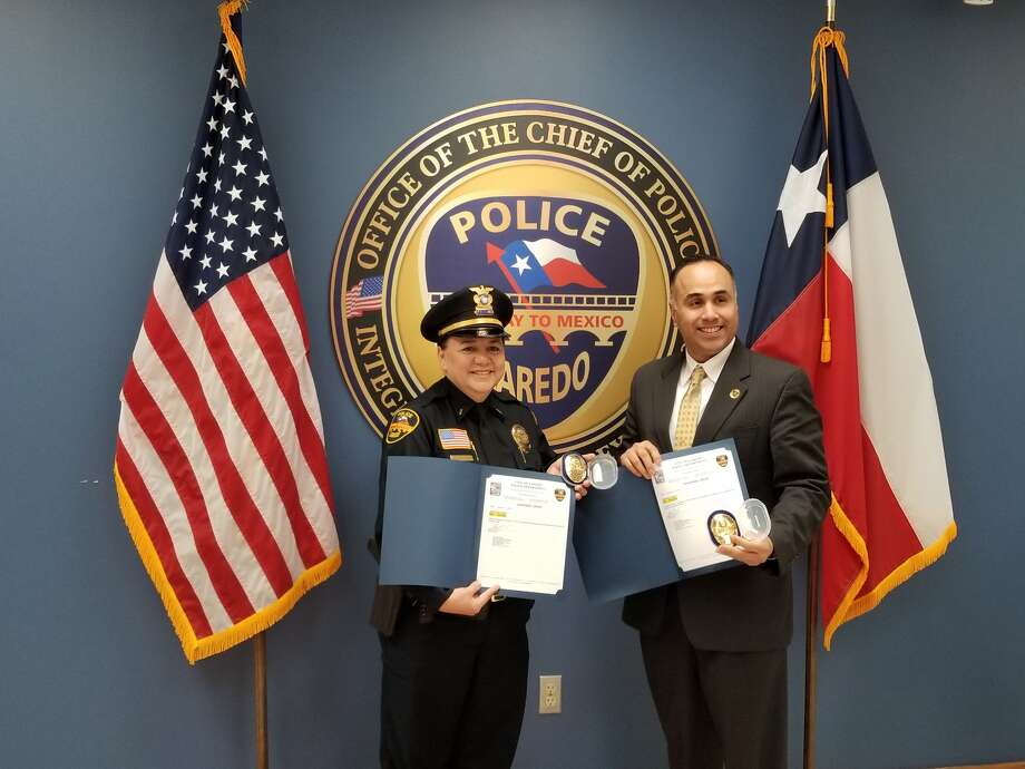 Enedina Martinez, left, was promoted Monday to LPD deputy chief and Miguel Rodriguez, right, was promoted to LPD assistant chief.  Photo: Laredo Police Department, Courtesy Photo