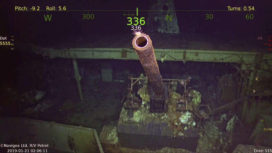 A five-inch gun on the USS Hornet, which was recently discovered near the Santa Cruz Islands. Photo: Photo Courtesy Of Paul G. Allen's Vulcan Inc.