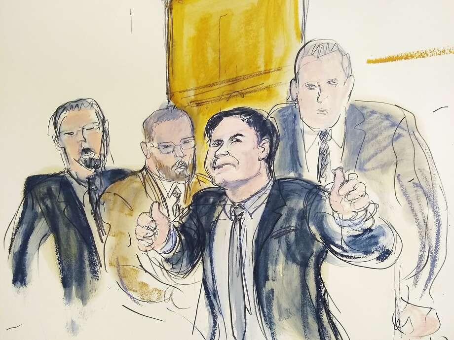 "In this courtroom drawing, Joaquin ""El Chapo"" Guzman, second from right, accompanied by US Marshalls, gestures a ""thumbs up"" to his wife, Emma Coronel Aispuro, as he leaves the courtroom, Tuesday, Feb. 12, 2019, in New York. The notorious Mexican drug lord was convicted of drug-trafficking charges, Tuesday, Feb. 12 2019, in federal court in New York. Elizabeth Williams via AP) Photo: Elizabeth Williams, Associated Press"