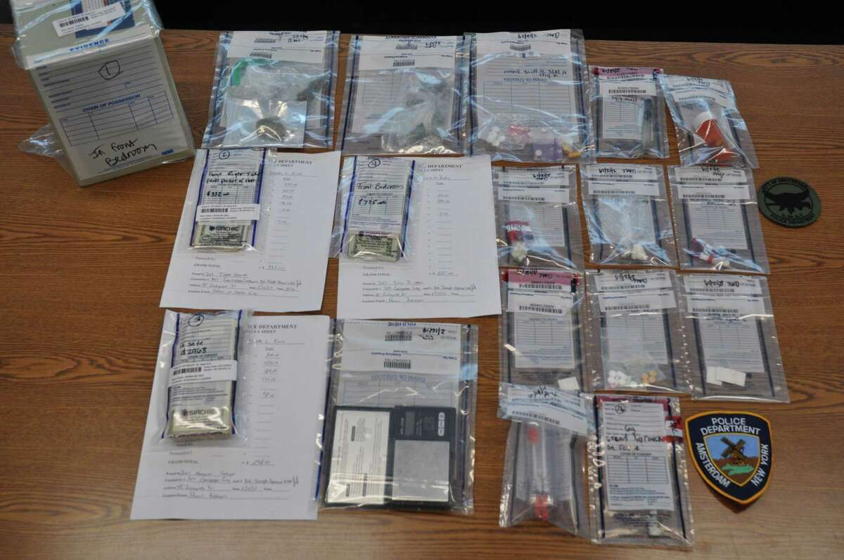 Amsterdam police recovered heroin, crack cocaine, ecstasy and other drugs in a Schuyler Street apartment on Tuesday morning, Feb. 19, 2019. (Amsterdam Police Department)