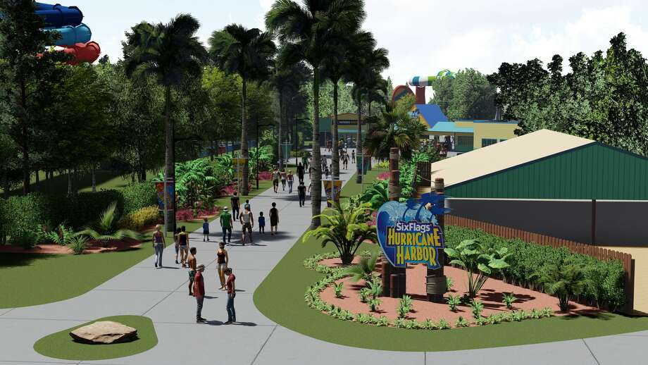 A rendering from Six Flags, Six Flags is renaming and renovating Wet 'n' Wild Splashtown, the largest water park in the Houston area, which it last year. The Grand Prairie, Texas-based amusement park company announced Tuesday that Wet 'n' Wild Splashtown will be rebranded as Six Flags Hurricane Harbor Splashtown. Photo: Six Flags