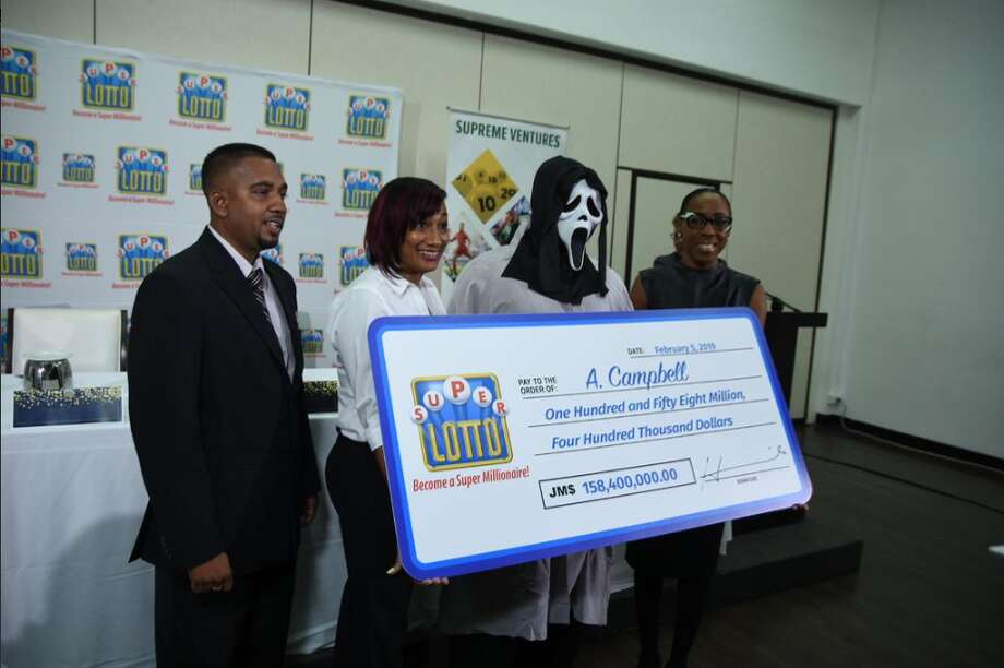 "A jackpot winner in Jamaica wore a mask from the horror movie ""Scream"" to claim the prize. Photo: Supreme Ventures Ltd"