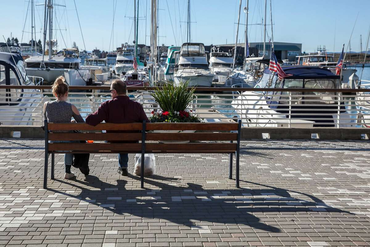 View of the Jack London Square water front near the Jack London Square's farmers' market in Oakland, California, USA 17 Dec 2017.