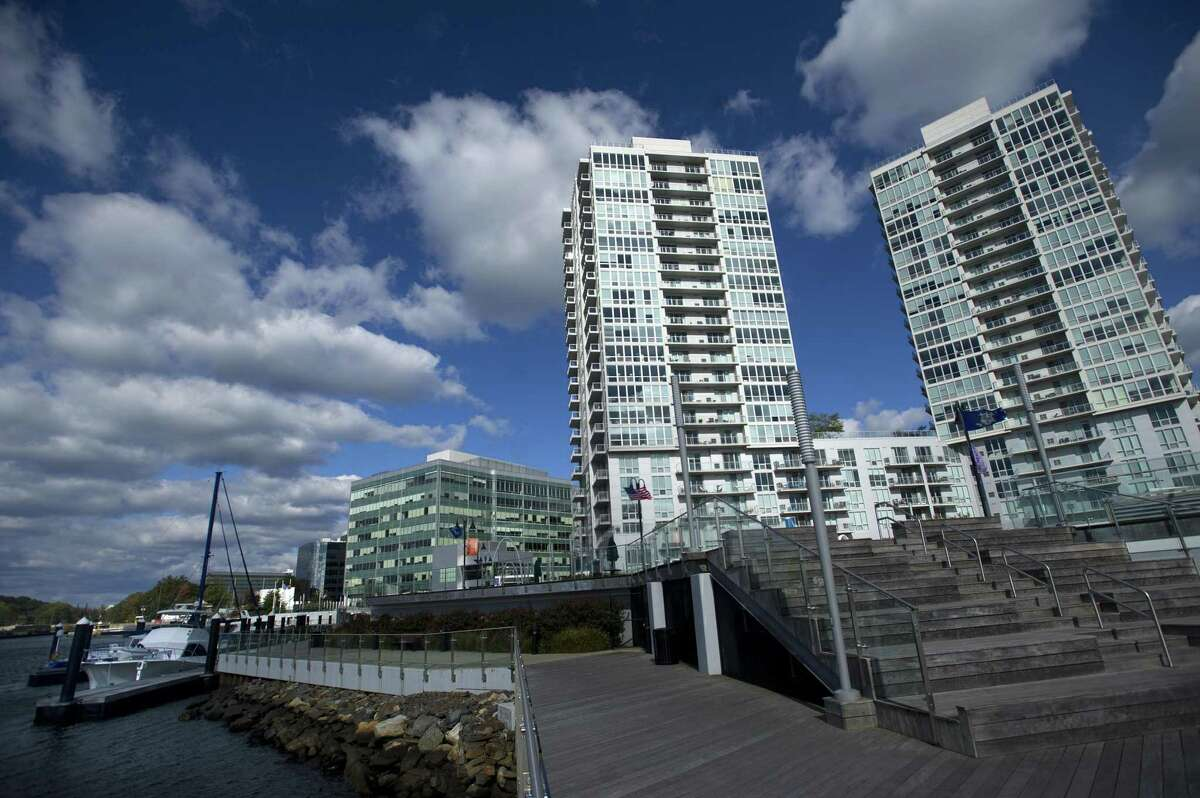 The Beacon Harbor Point towers in Stamford. The average rent in Stamford last month was $2,344, according to the March report by RENTCafe, an apartment-search website.