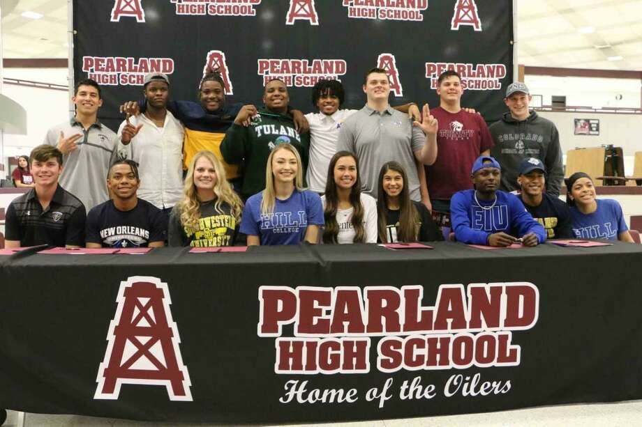 Pearland athletes signing letters of intent included, football, Jaelin Benefield (Illinois), Mason Cook (Colorado School of Mines), Sincere Haynesworth (Tulane), Gilbert Ibeneme (Texas Tech), Isaiah Iton (Northern Colorado), Austin Landry (Angelo State), Malcolm Linton (Angelo State), Brayden McKinney (Trinity), Jaret Porterfield (Stephen F. Austin), Johnny Tamayo (New Mexico State); volleyball, Stasha Adams (Hill College), Katelynn Tyrone (Hill College), Katie Whitehead (Southwestern); soccer, Haleigh Gangloff (Centenary), McKenzie Rizqi (Louisiana-Monroe); track, Julian Jaime (New Orleans). Photo: Submitted Photo