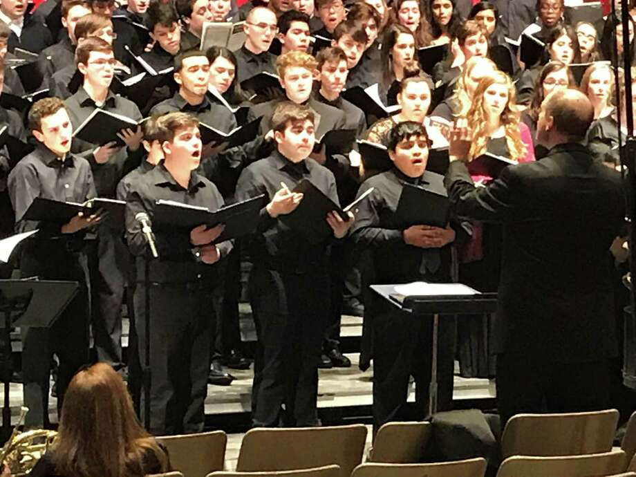 Connor Sainz, second from left, of New Milford and a student at Marvelwood School in Kent, recently participated in the Northern Region High School Festival Chorus, sponsored by the Connecticut Music Educators' Association. Photo: Courtesy Of Marvelwood School / The News-Times Contributed