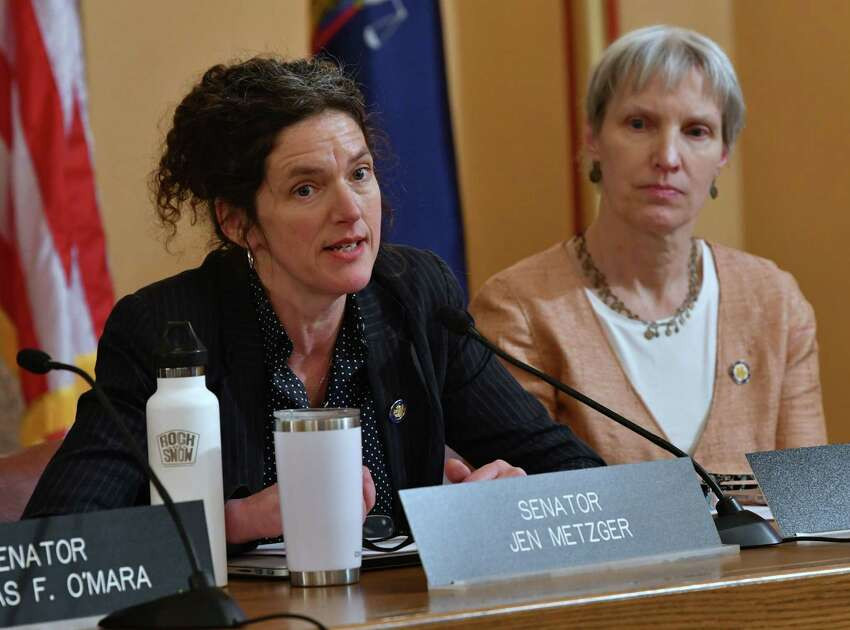 Senator Jen Metzger sponsored the state's Boss Bill. Here she speaks during a public hearing on the Climate & Community Protection Act at the New York State Capitol on Tuesday, Feb. 12, 2019 in Albany, N.Y. Senator Rachel May sits at right. (Lori Van Buren/Times Union)