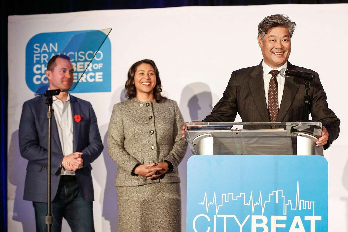 New commerce chief, Rodney Fong, says a few words at the Chamber of Commerce's annual CityBeat Breakfast on Tuesday on Tuesday, February 12, 2019 in San Francisco, Calif.