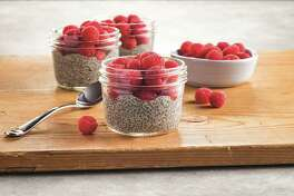 Lemon Raspberry Chia Seed Pudding packs in heart-healthy omega-3 fatty acids as well as protein and fiber.